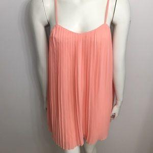 Misguided Pleated Light Orange Dress Size Medium